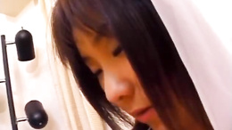 Nami Asakura in wedding dress rubs it with gloves