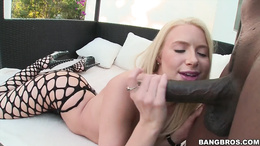 Anikka Albrite feasting on a black cock