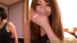 Japanese babe sixtynines before jerking lucky guy