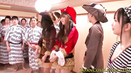 Japanese cosplay babes squirt in orgy