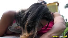Saucy brunette Sophia Leone sucks off cock in a golf caddy