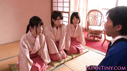Spanked japanese teens queen dude while wanking him off