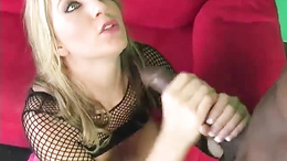 Barbie Cummings wraps her lips round a massive dick
