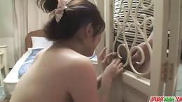 Nasty MILF pervert Miko Amane toying and banged hard