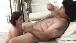 Kaci Star splooge on face with fat man's cummings