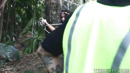 Tree hugging Jaye Austin naked and horny