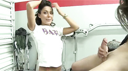 Shy brunette Latina is surprised that she can take all