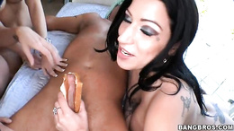 Jennifer Dark share a mouthful of meat with friends