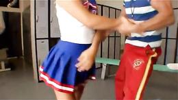 Fit & flexible blonde cheerleader seduces her school co