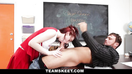 Petite gorgeous darling enjoys a wild love making with her teacher