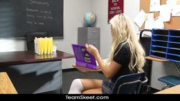 Horny blonde schoolgirl went to the school to fuck her teacher