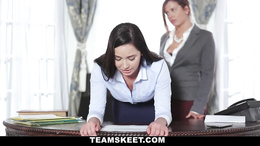 Hot office secretary gets fucked hard with a strapon by her boss lady