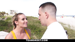 Hot tattooed blonde excercising on the beach picked up and fucked hard