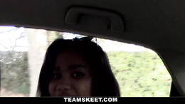 Pretty black chick gets horny in car and deepthroats a large cock