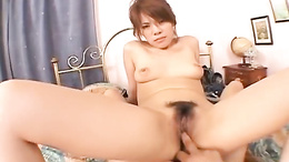 Sultry Sara Nakamura licks ass, blows and fucks hard on her bed