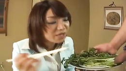 Mitsu Anno gets dick served on a platter with vegetables for her to suck