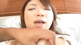 Cute nice ass Asian chick Mitsu Anno enjoys getting her holes toyed