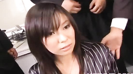 Classy office babe Satomi Maeno gets a hardcore gangbang in the office