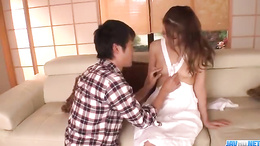 Well shaved moist Asian cunt Nana Ninomiya bends over for hot sex