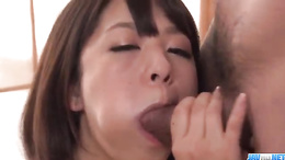 Wakaba Onoue in yellow lingerie tit stroke a fat cock and get creampie