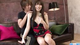 Waatch this nasty brunette Karen Natsuhara lose clothes and masturbate