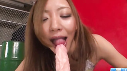 Mio Kuraki sucks cock and fucks dildo in complete xxx Japan porn