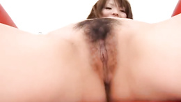 Japanese babe loves the cock slamming her furry cunt in such modes