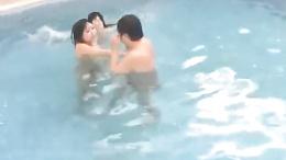 Horny Sayuri Marui and friend suck and fuck a fat nerd poolside