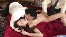 Mei Haruka swallows cum after fantastic Asian threesome fuck session