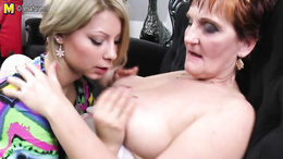 Granny gets seduced into have a wild session with a hot blondie