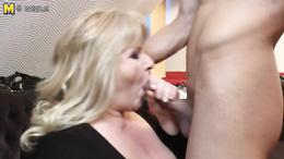 Gorgeous blonde granny is sucking young studs rock hard boner