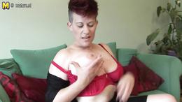 Kinky MILF with big busty figure pleasures herself very well
