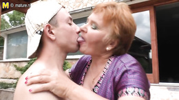 Wonderful granny is fucking with a horny stud and sucks his boner