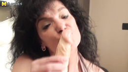 Old sexy BBW sweetie uses dildo for her eternal pleasuring fun