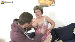 Hot sex party of old BBW babe and young hard submissive pecker