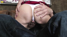Short haired mature beauty has the urge to ride young dick in cowgirl