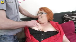 BBW mature with red hair gets fisted and gives a hot blowjob