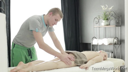 Blonde teen gets turned on by massage and takes it hard doggystyle