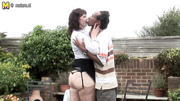 White horny milf enjoys getting drilled outdoors by a huge black dick