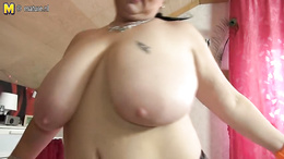 Mature amateur BBW sucks dick and gives a steaming titty fuck