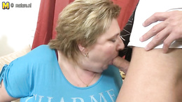 Fat granny blows and gets her huge boobs fucked and cunt fingered