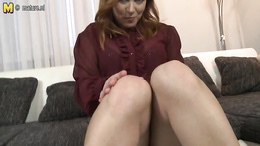 Sensual babe removes panties to pose when rubbing her creamy pussy