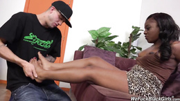 Chocolate Tamra Millan foot worshiped and pussy banged by a white dude