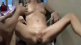 Shaved pussy penetrated with different toys