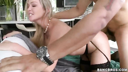 Abbey Brookes bounces her pussy on this stiff cock