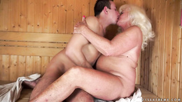Old horny blonde fucked by a hard dick
