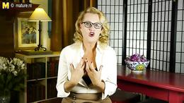 Chubby blonde mature with glasses strips and masturbates vigorously
