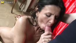 Petite hot brunette blows a huge throbbing cock before wild sex