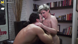 Sexy milf swallows that young huge cock before getting nailed well