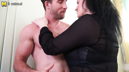 Fat mature amateur gets down and sucks her young lover's stiff dick